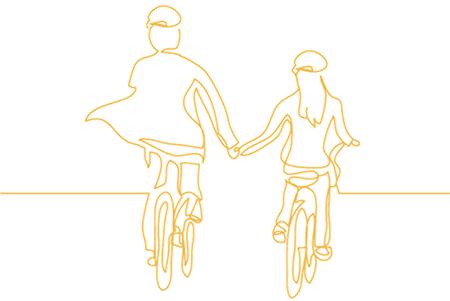 Dos ciclistas cogiendose de la mano