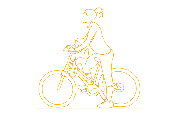 Una madre con su hijo en una bici